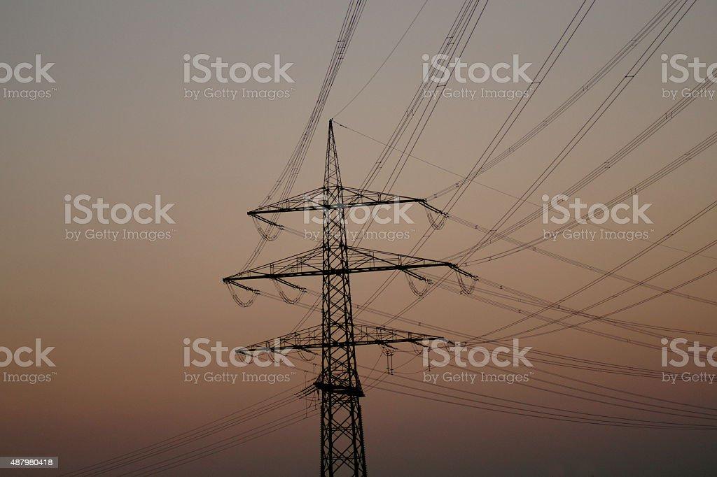 Hochspannung Mast stock photo