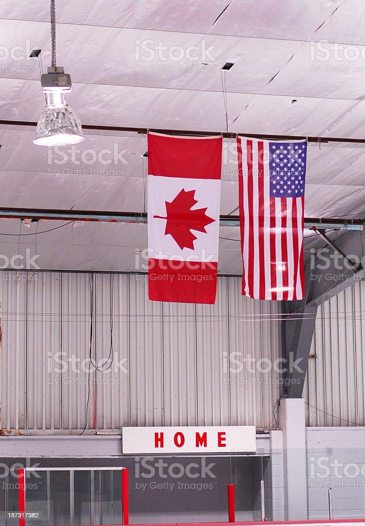 Hockey Arena Flags royalty-free stock photo