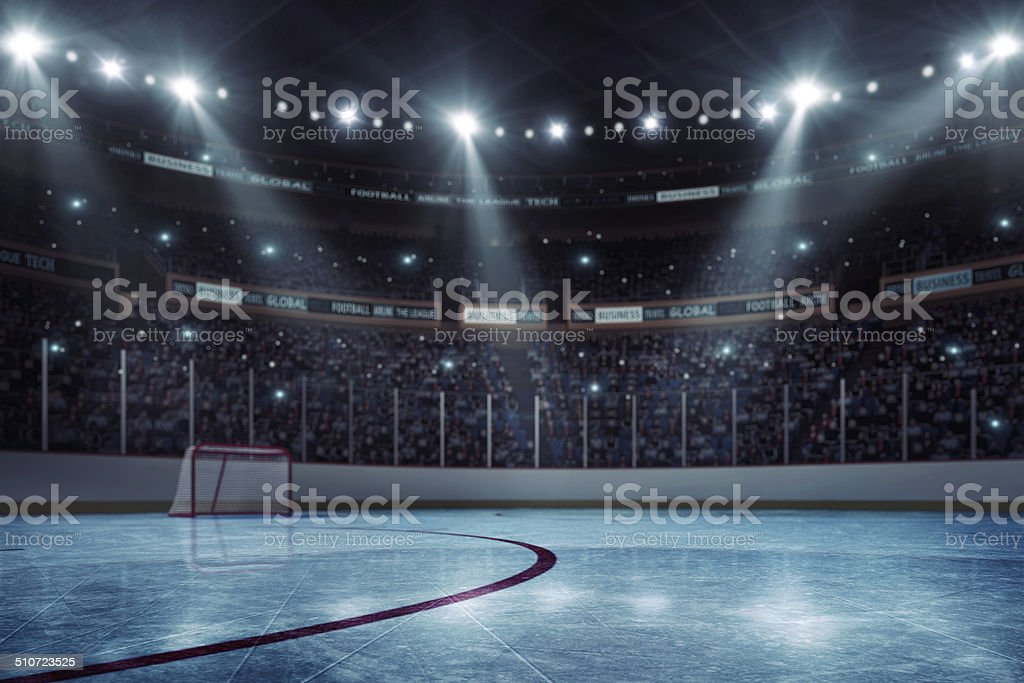 Hockey arena vector art illustration