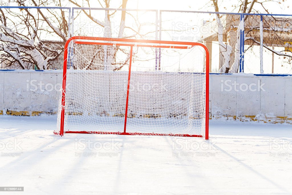 Hockey gates in the park ice playground stock photo