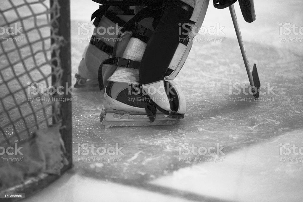 hockey goalie black & white stock photo