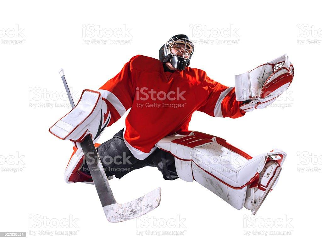 Hockey goalie isolated stock photo