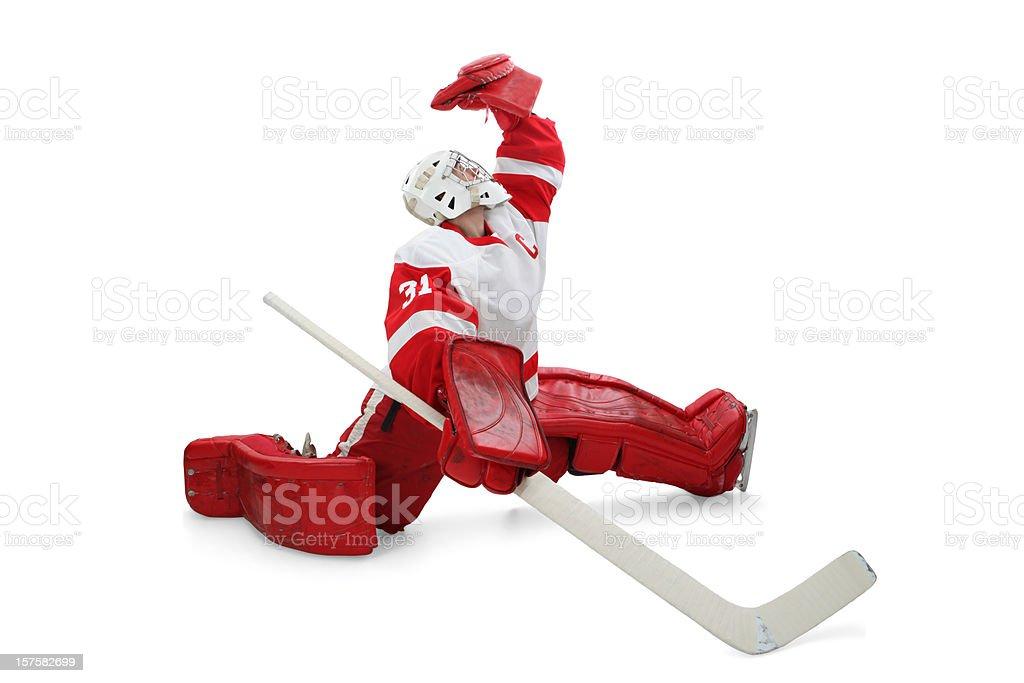 Hockey Goalie Making Save stock photo