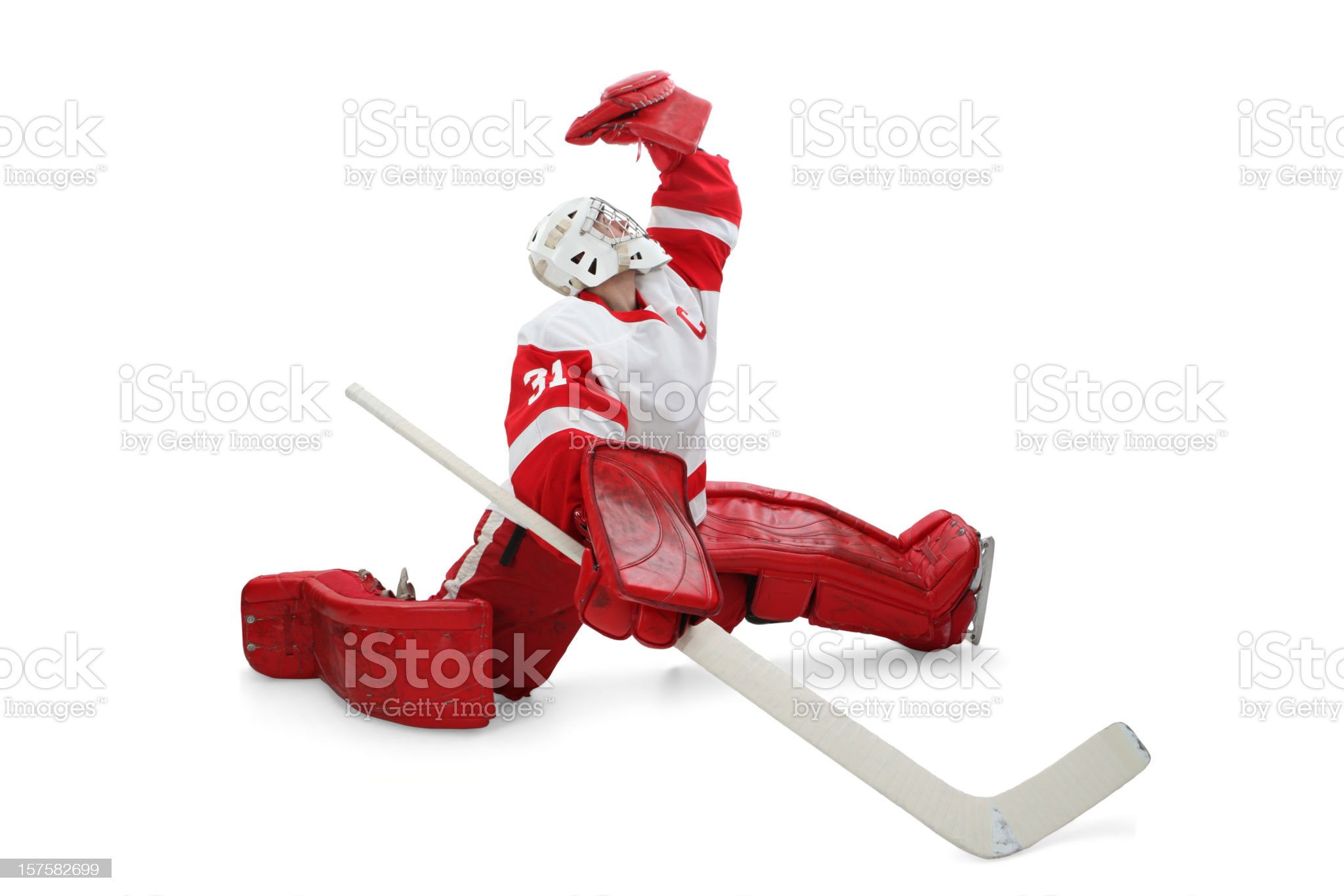 Hockey Goalie Making Save royalty-free stock photo