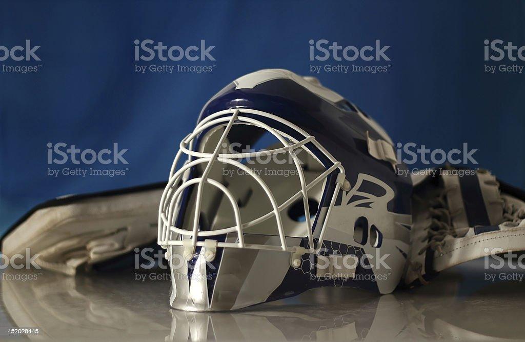 Hockey goalie mask with gloves. stock photo