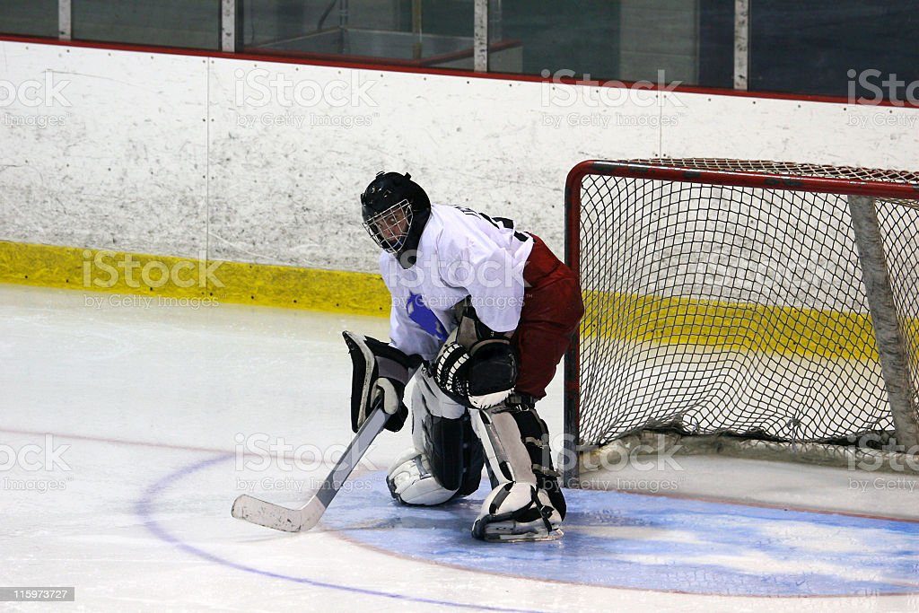 Recreational hockey league goalie