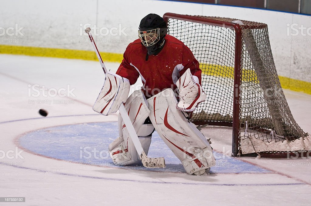 Hockey Goaltender Action Shot royalty-free stock photo