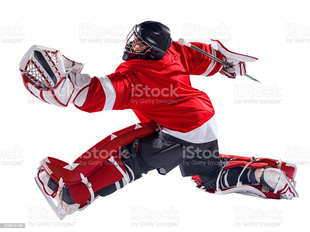 Hockey golie isolated stock photo