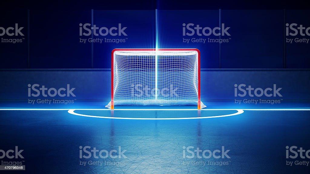 hockey ice rink and goal stock photo