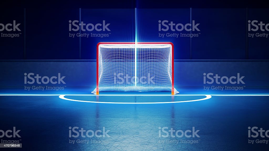 hockey ice rink and goal stock photo