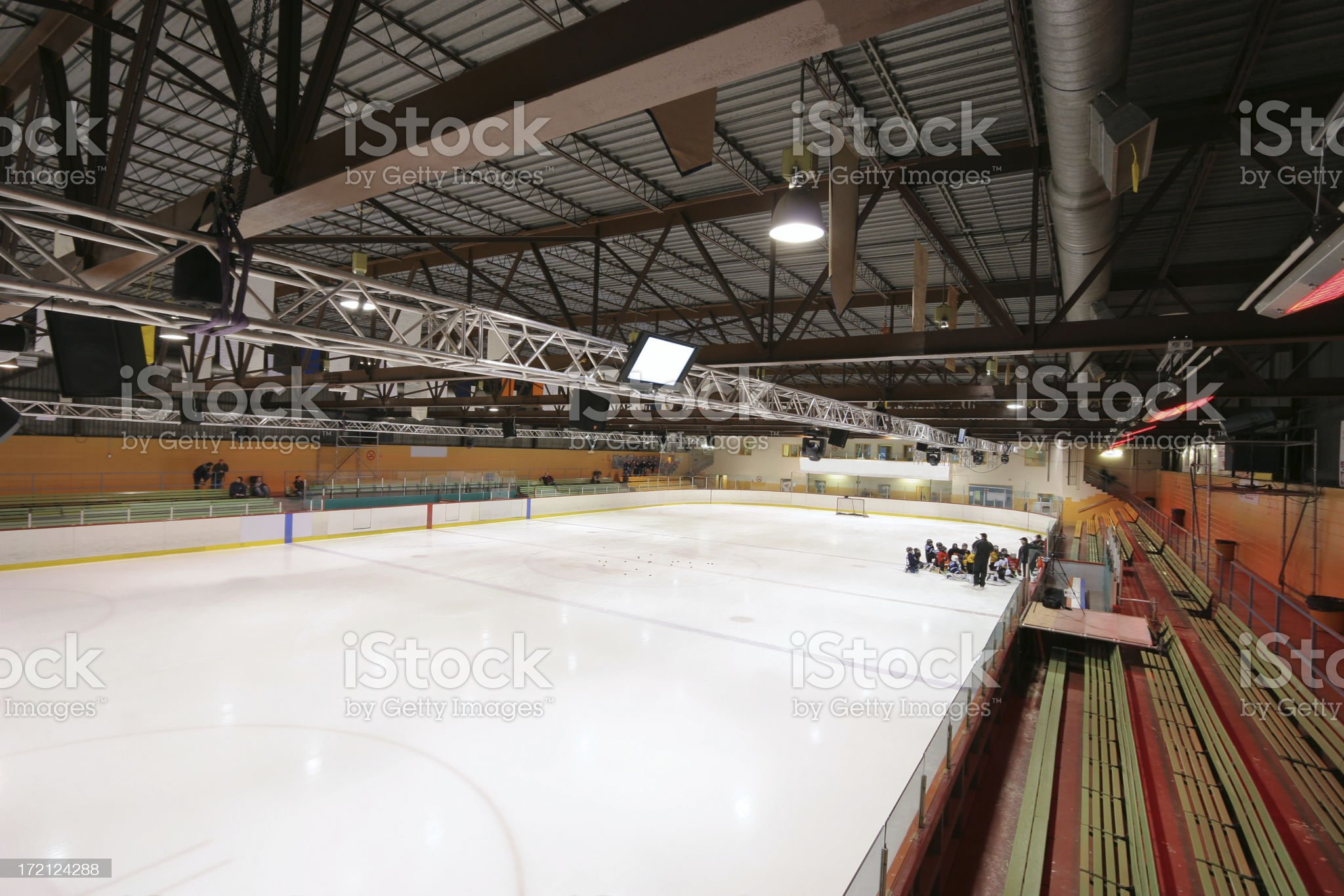 Hockey Ice Rink inside an Arena royalty-free stock photo