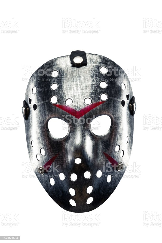 Hockey mask of serial killer isolated on white stock photo