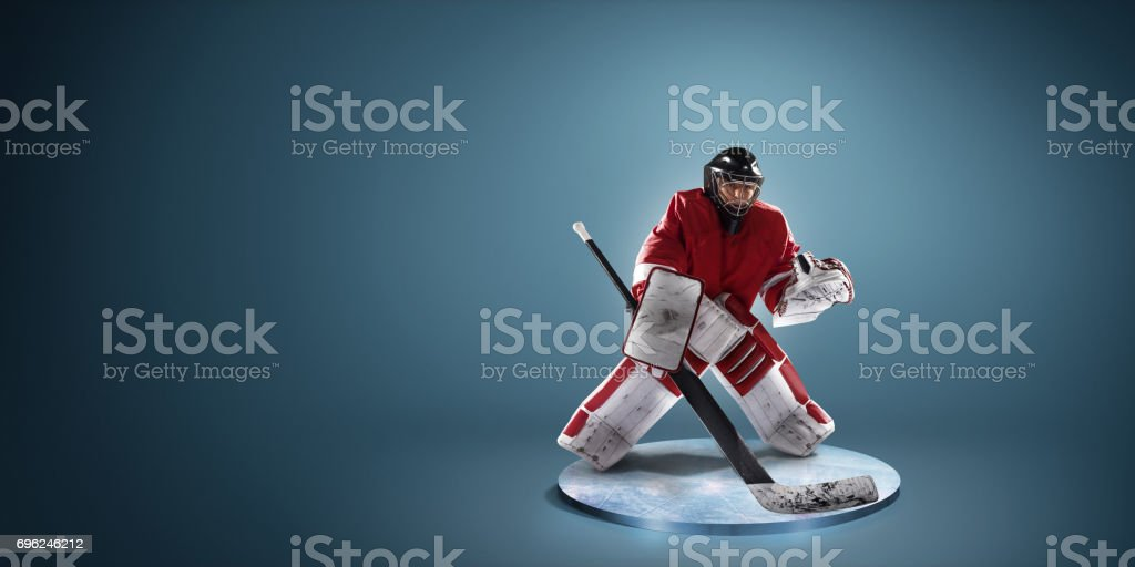 Hockey player in action stock photo