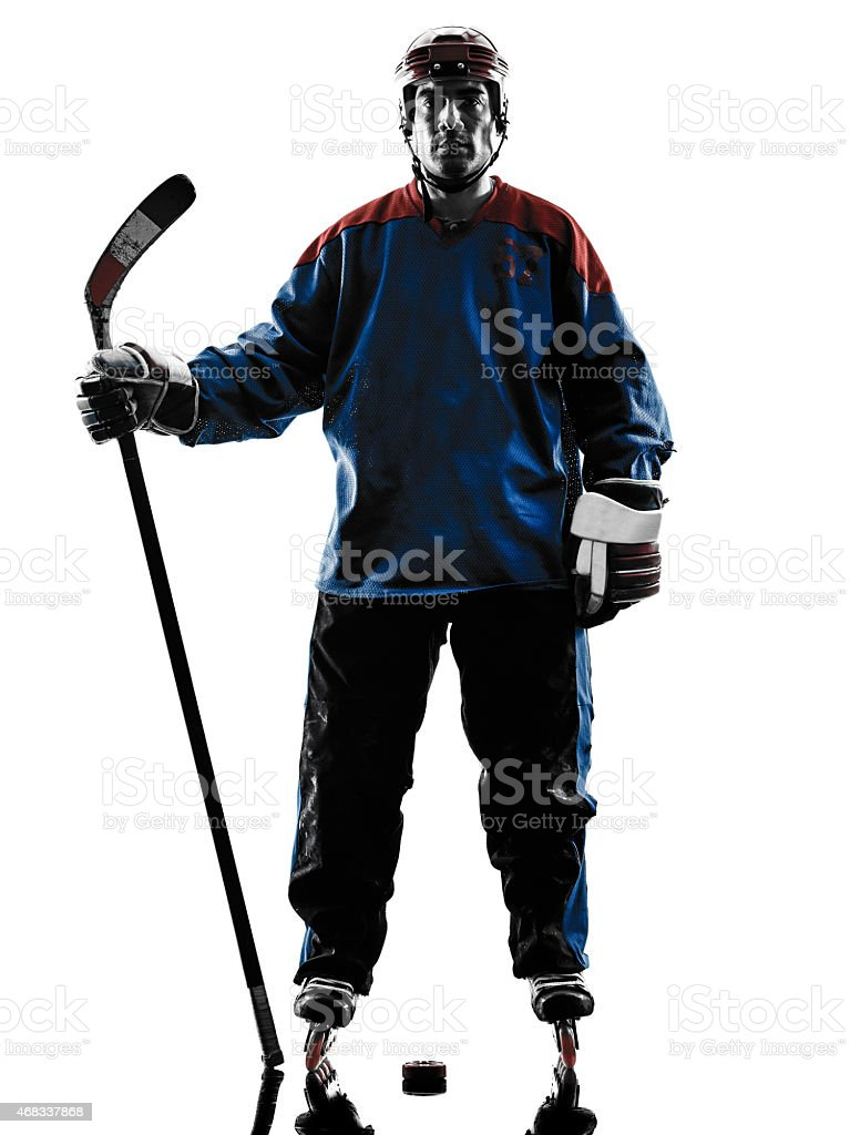 Hockey player silhouette on white background stock photo