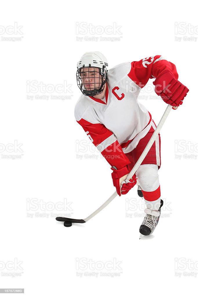 Hockey Player with Clipping Path royalty-free stock photo