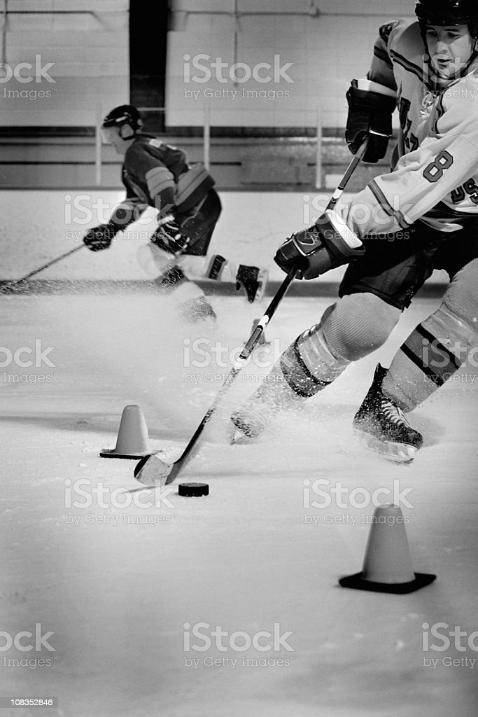 Hockey Players Practicing stock photo