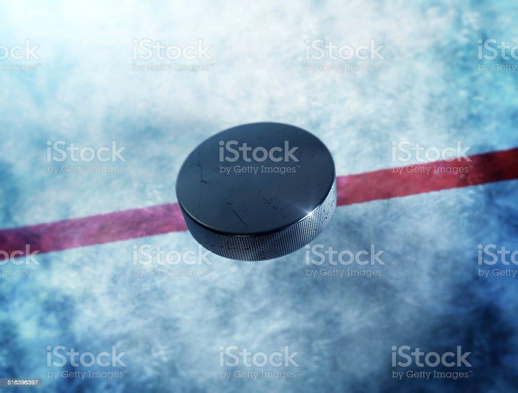 Hockey Puck Center stock photo