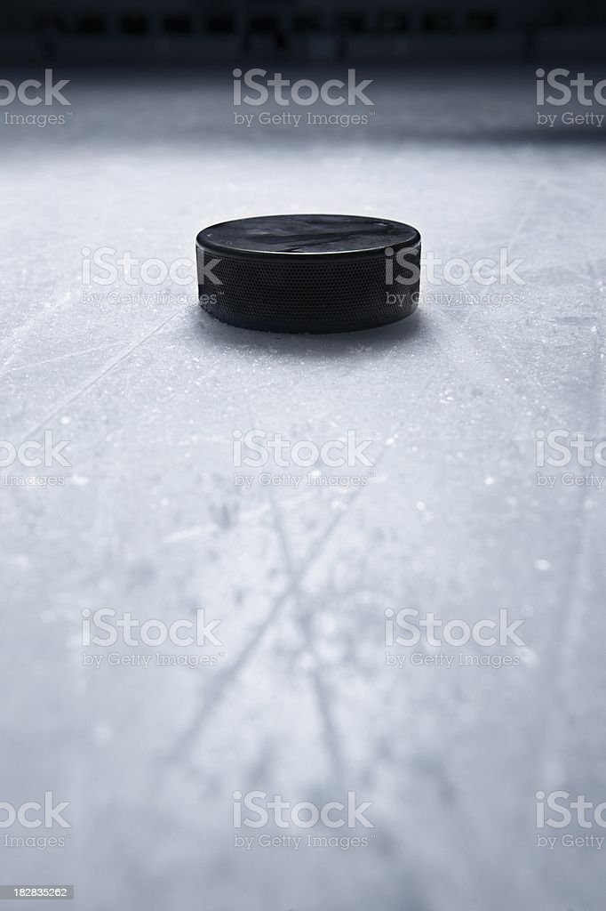 Hockey Puck on Ice royalty-free stock photo