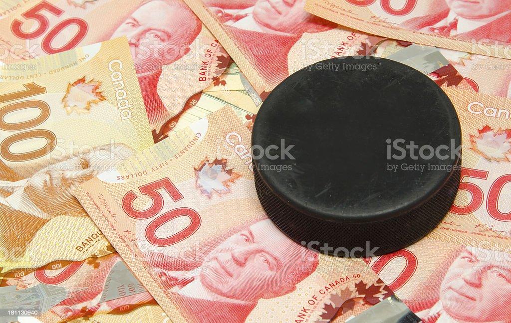Hockey Puck sitting on Canadian Money stock photo