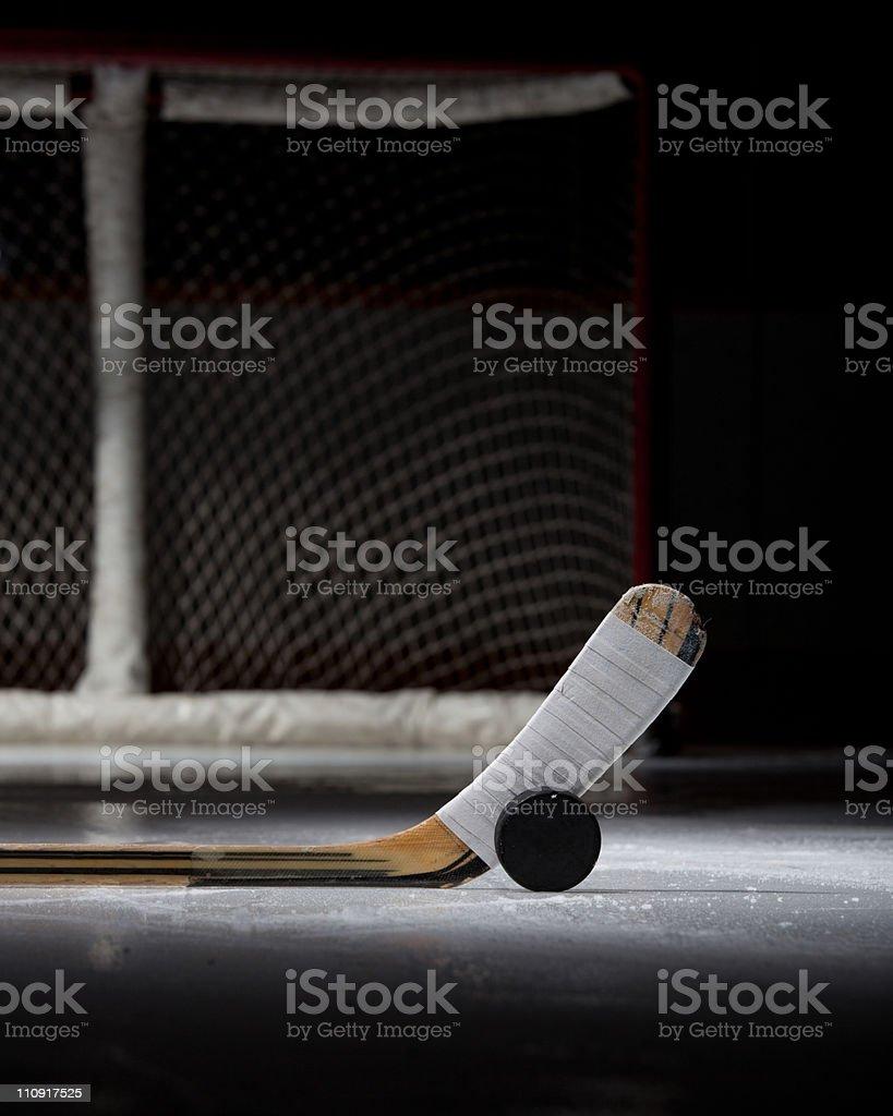 Hockey Puck, Stick, and Net stock photo