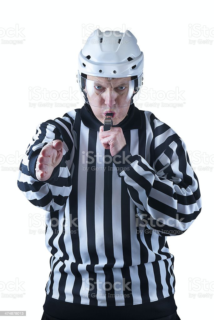 Hockey referee demonstrate a goal signal royalty-free stock photo