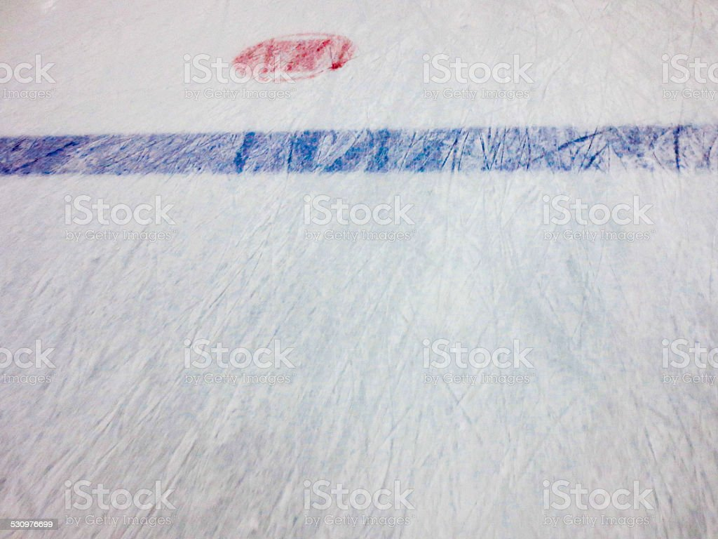 Hockey Rink - Blue Line and Neutral Zone Faceoff Spot stock photo
