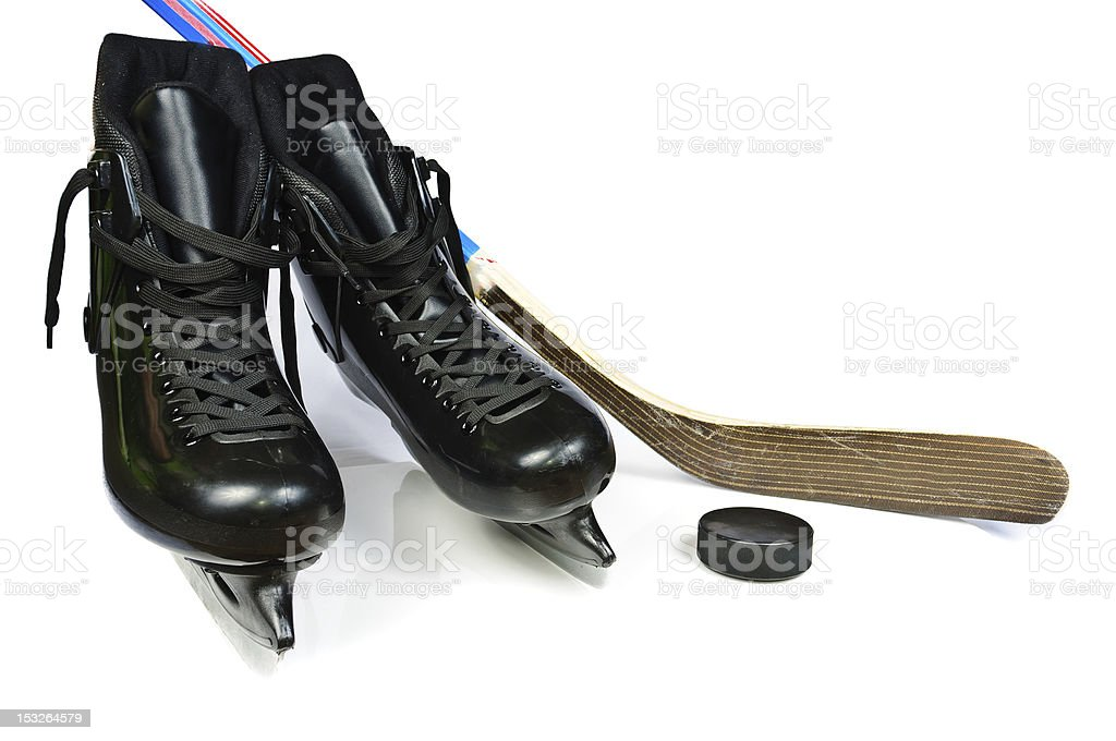 Hockey skates and stick royalty-free stock photo