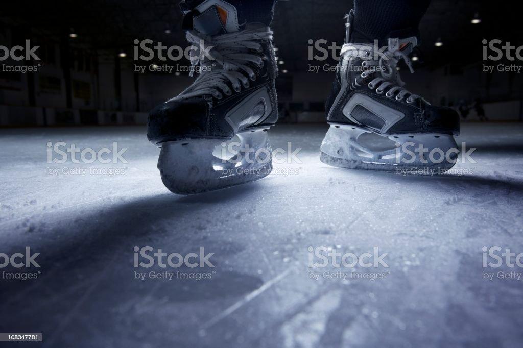 Hockey Skates on Ice stock photo