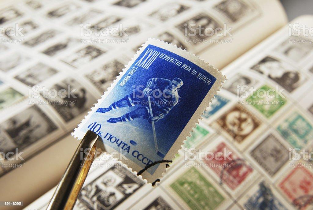 Hockey stamp stock photo
