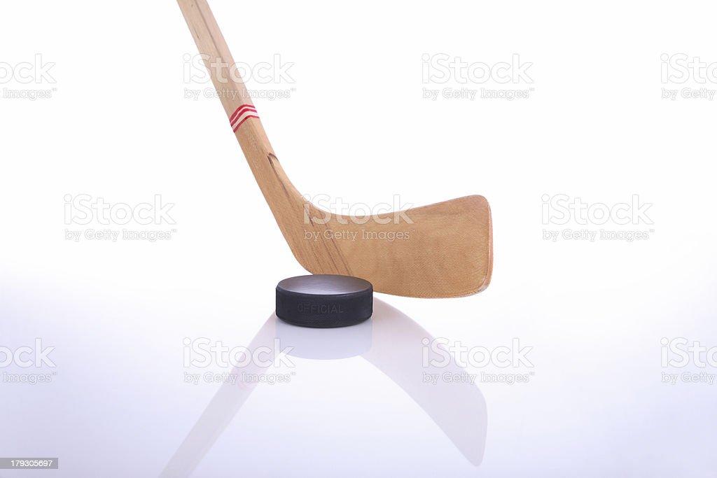 Hockey stick and puck XL stock photo
