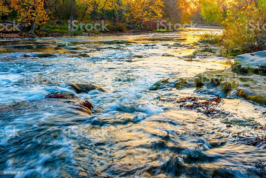 Hocking River at Sunrise in October stock photo