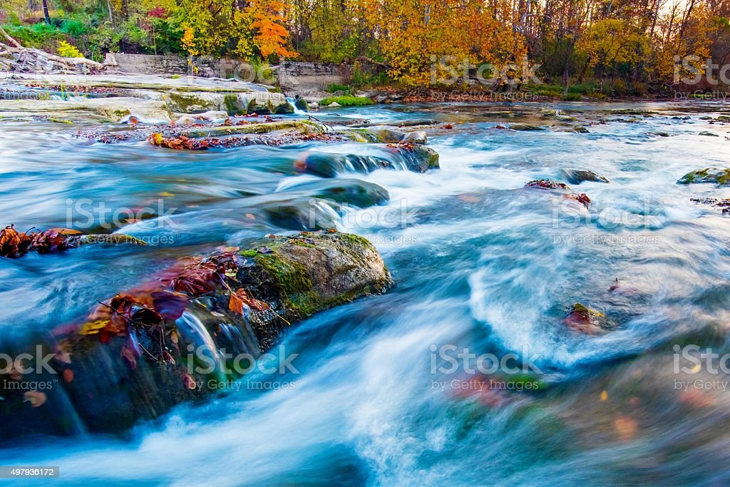 Hocking River in Hocking Hills Ohio in Autumn stock photo