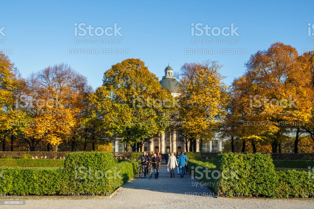 Hofgarten and the Bavarian State Chancellerey in Munich, Germany, 2015 stock photo