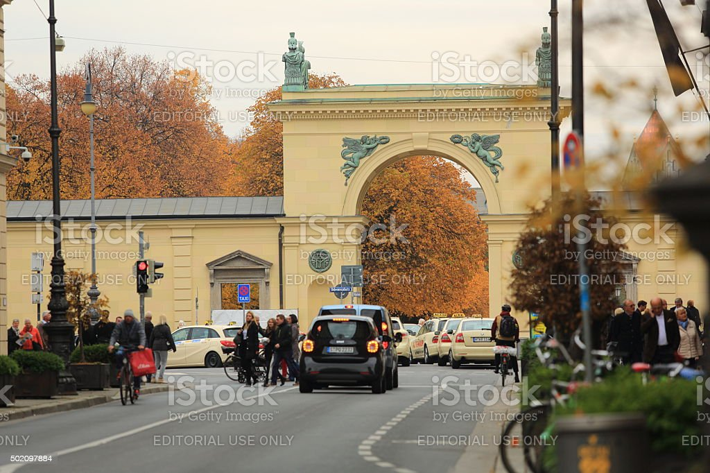 Hofgarten Gate along Ludwigstrasse next to Odeonplatz stock photo