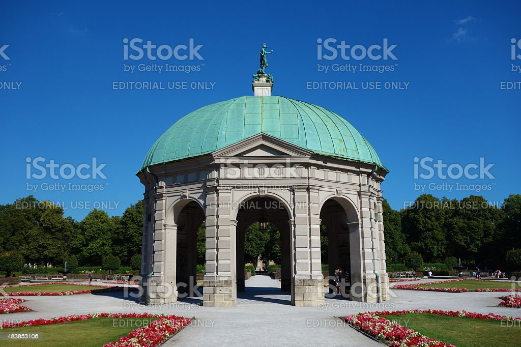 Hofgarten with the temple dedicated to goddess Diana stock photo