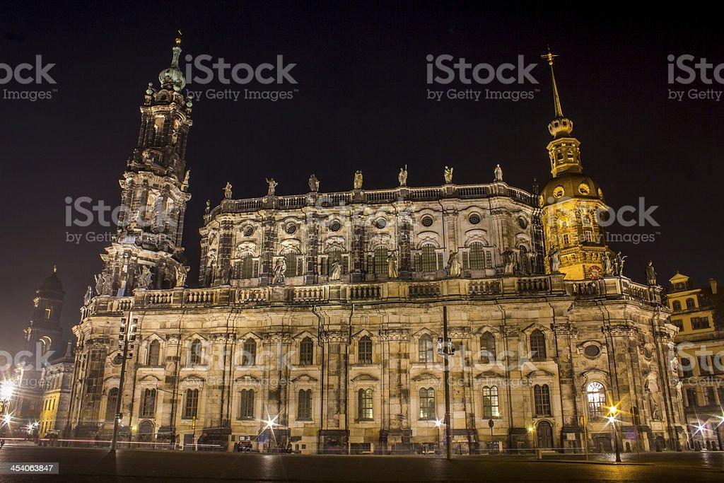 Hofkirche Dresden at night stock photo