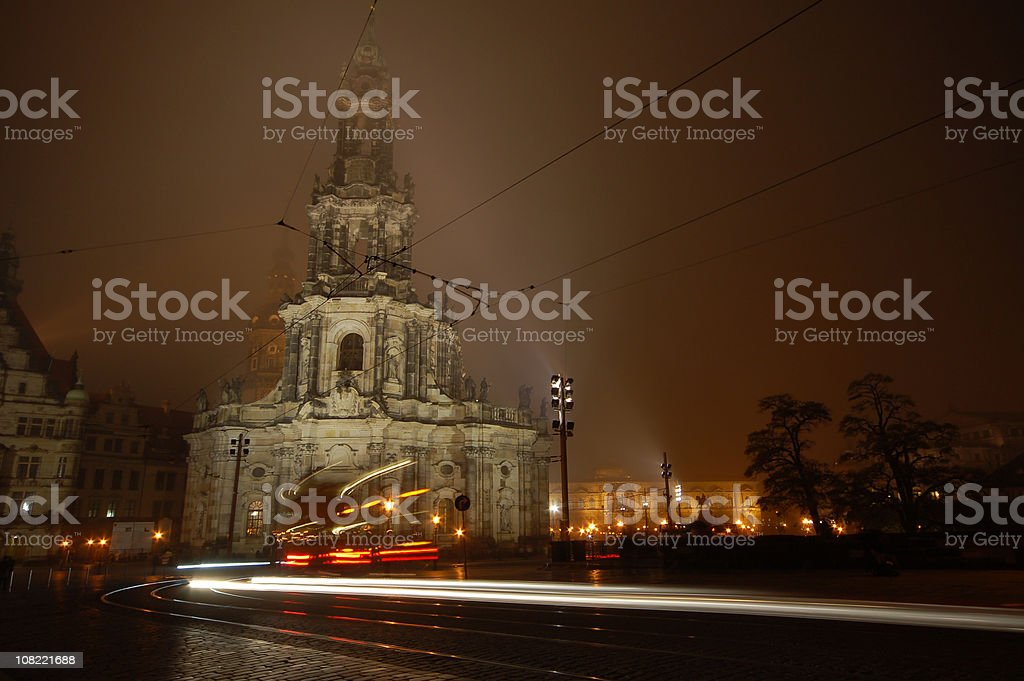 Hofkirche in Dresden by night stock photo
