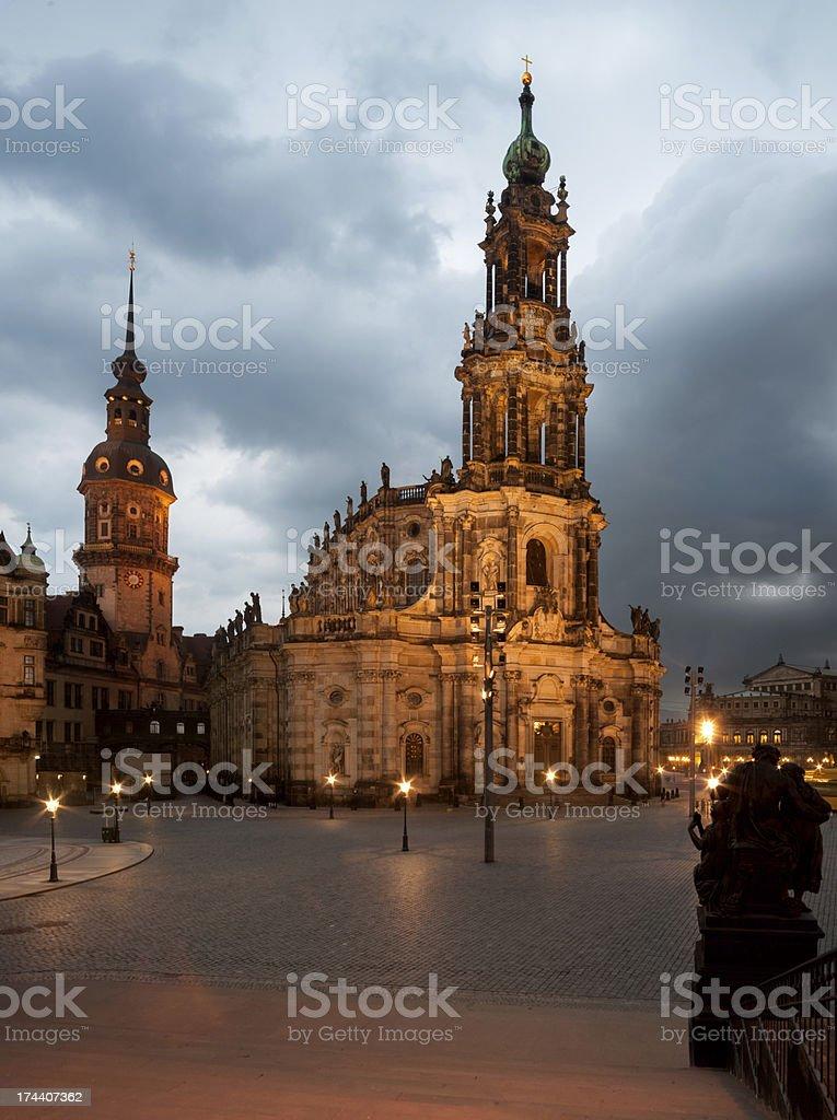 Hofkirche in Dresden illuminated royalty-free stock photo