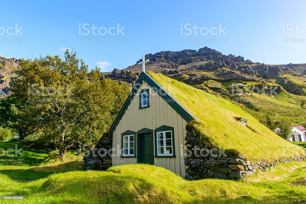 Hofskirkja Turf Church in Hof Iceland stock photo