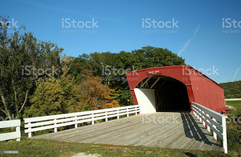 Hogback Covered Bridge in Madison County 2 royalty-free stock photo
