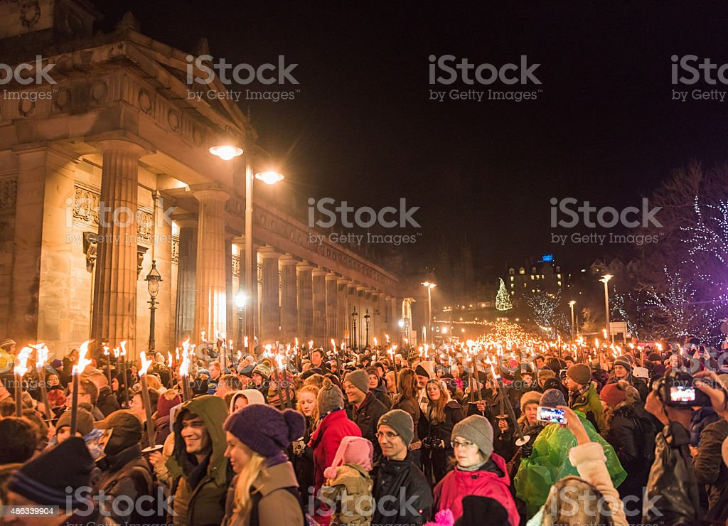 Hogmanay Torchlit Procession in Edinburgh, Scotland stock photo