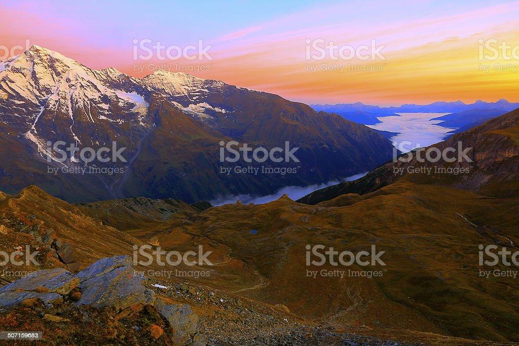 Hohe Tauern alps above Tirol valley at sunrise, Austria stock photo
