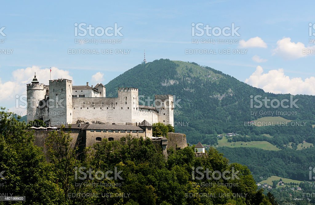 Festung Hohensalzburg and Gaisberg mountain stock photo