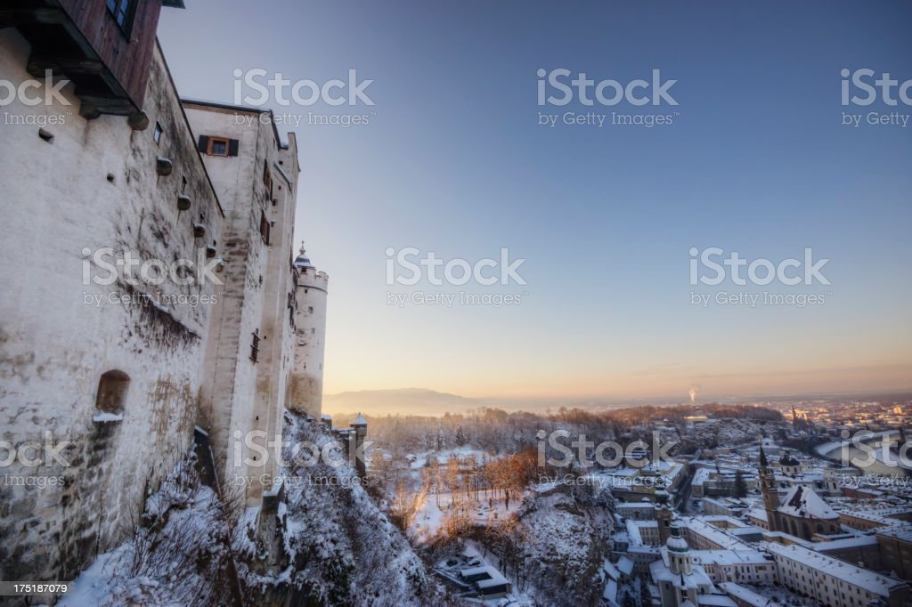 Hohensalzburg Fortress in Winter royalty-free stock photo