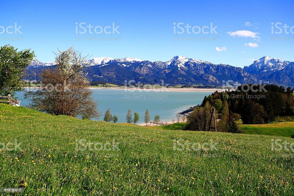 Hohenschwangau and Alpsee Lake stock photo