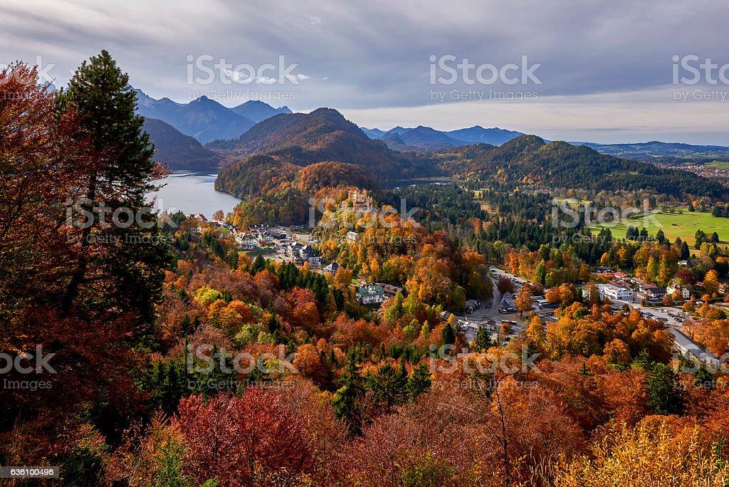 Hohenschwangau Castle and autumn trees. Bavaria, Germany. stock photo