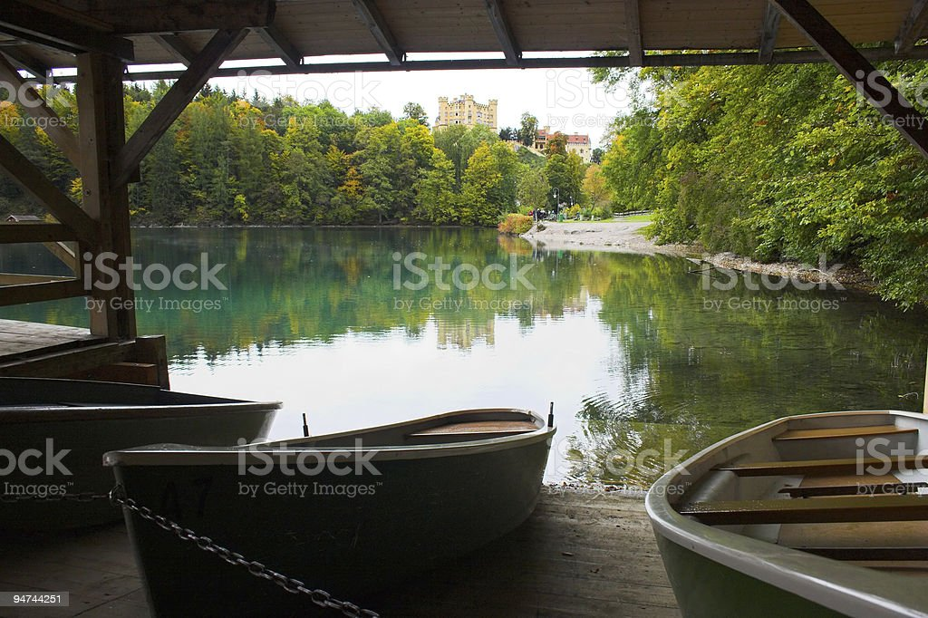 Hohenschwangau Castle and boats royalty-free stock photo