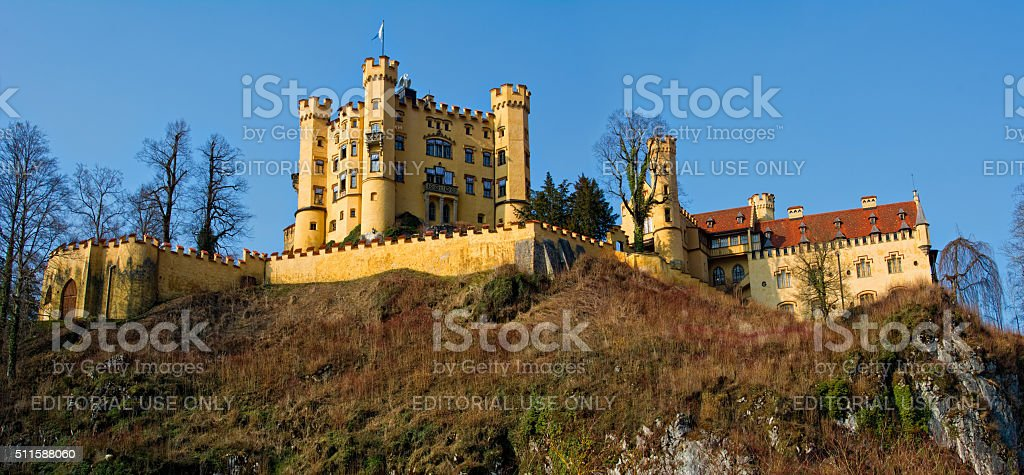 Hohenschwangau Castle in the Bavarian Alps of Germany. Panorama stock photo