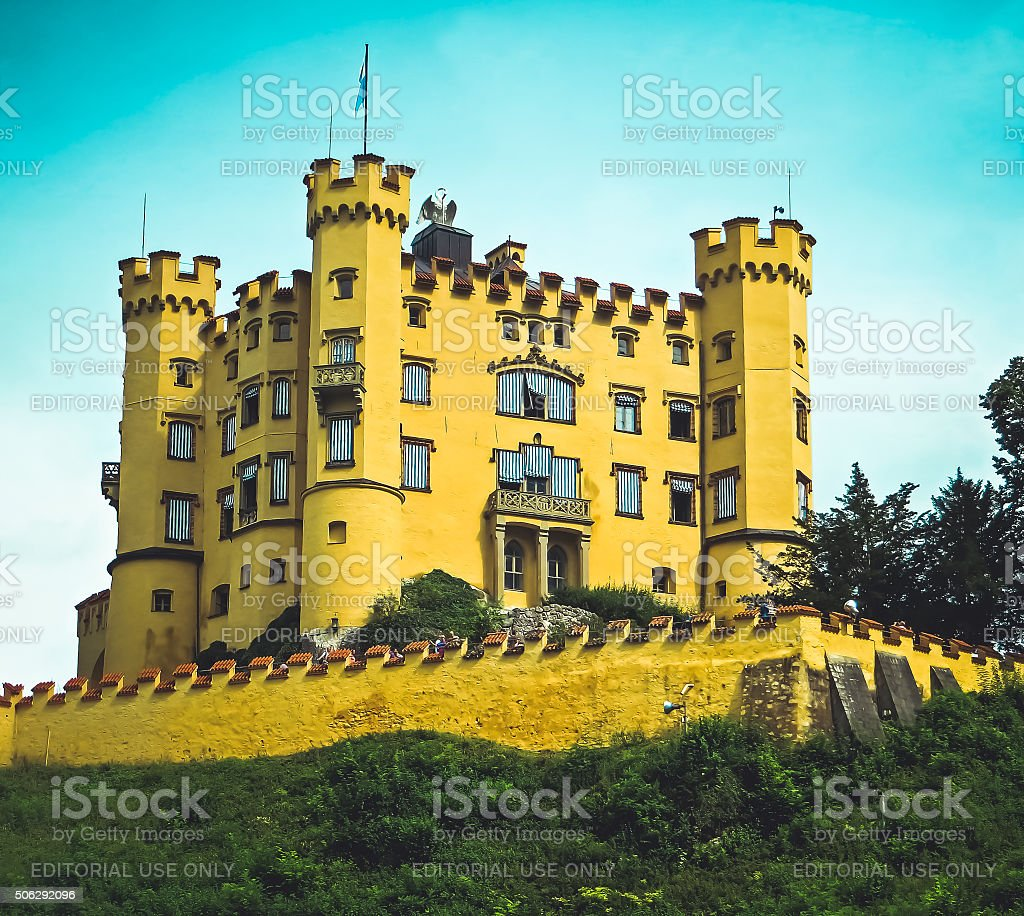 Hohenschwangau Castle Mad King Ludwig Bavaria Fussen, Germany in Vintage stock photo