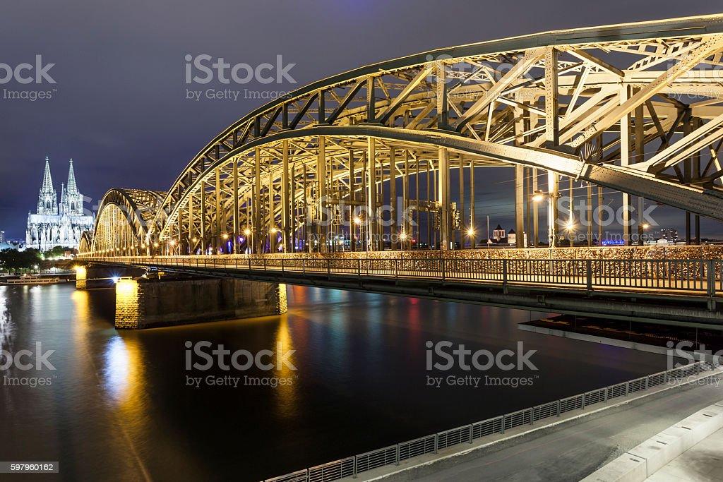 Hohenzollern Bridge in Cologne, Germany stock photo